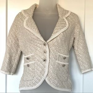 Neutral tweed blazer jacket